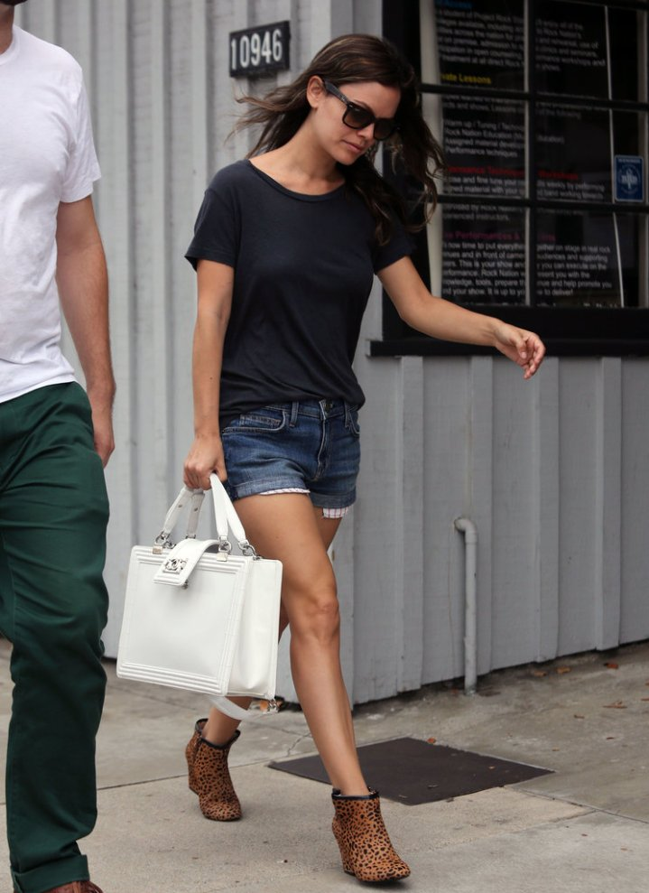 Rachel-black-t-shirt-denim-shorts-leopard-print-booties